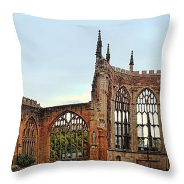 Coventry Cathedral Ruins Panorama Throw Pillow