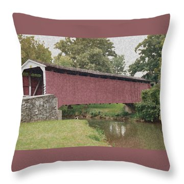 Covered Bridge Throw Pillow
