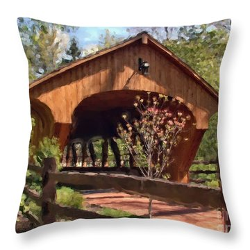 Covered Bridge At Olmsted Falls-spring Throw Pillow