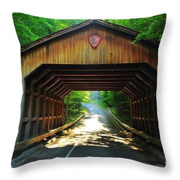 Covered Bridge At Sleeping Bear Dunes National Lakeshore Throw Pillow by Terri Gostola
