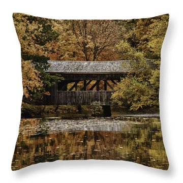 Throw Pillow featuring the photograph Covered Bridge At Sturbridge Village by Jeff Folger