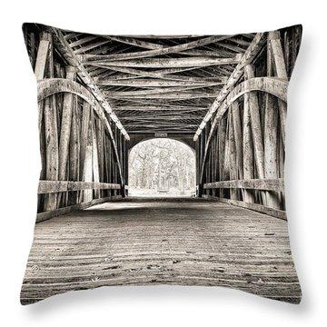 Covered Bridge B N W Throw Pillow