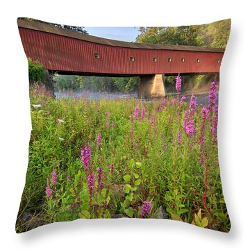 Covered Bridge West Cornwall Throw Pillow