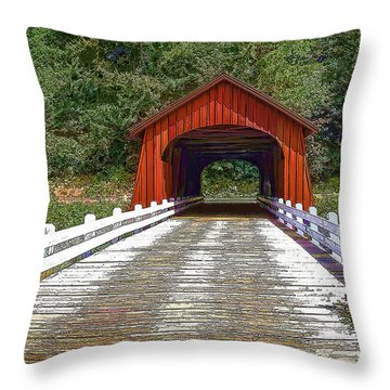 Covered Bridge-d Throw Pillow