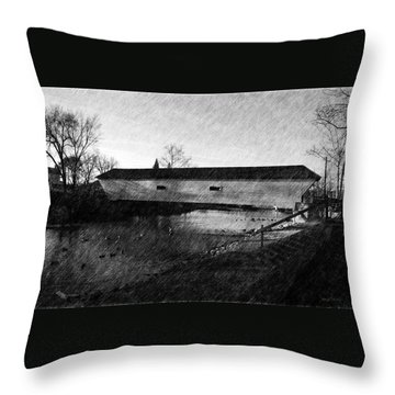 Covered Bridge Elizabethton Tennessee C. 1882 Throw Pillow