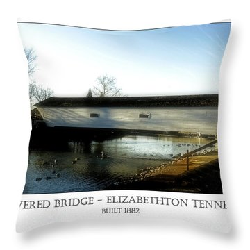 Covered Bridge - Elizabethton Tennessee Throw Pillow
