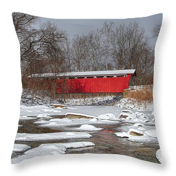 covered bridge Everett rd. Throw Pillow by Daniel Behm