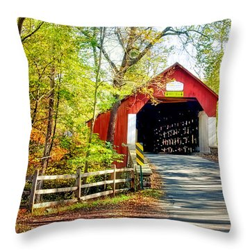 Covered Bridge In Bucks County Throw Pillow
