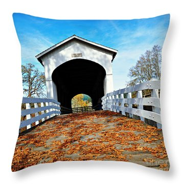 Covered Bridge In Fall  Throw Pillow by Mindy Bench