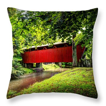 Covered Bridge In Pa Throw Pillow by Dan Friend