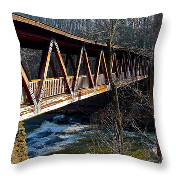 Covered Bridge In Roswell Throw Pillow