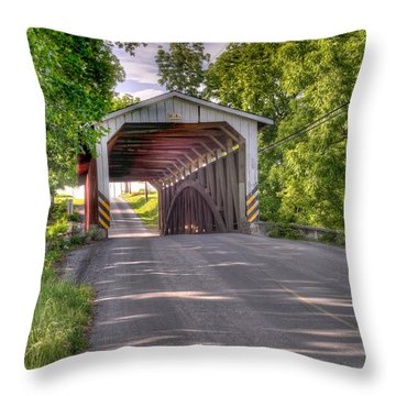 Throw Pillow featuring the photograph Covered Bridge by Jim Thompson