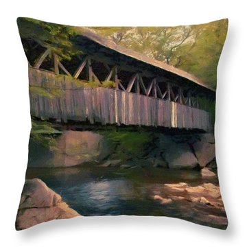 Covered Bridge Throw Pillow by Jeff Kolker