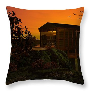 Covered Bridge Throw Pillow by John Pangia