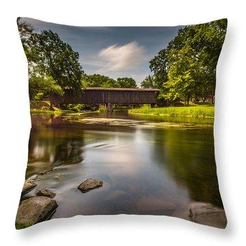 Covered Bridge Long Exposure Throw Pillow by Randy Scherkenbach