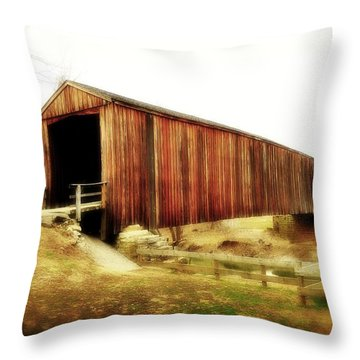 Covered Bridge Magic Throw Pillow by Marty Koch
