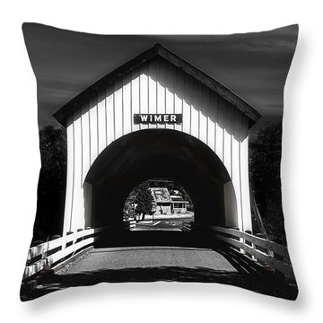 Covered Bridge Throw Pillow by Melanie Lankford Photography