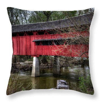 Throw Pillow featuring the photograph Covered Bridge by Michael Colgate