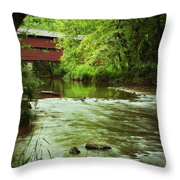 Covered Bridge Over French Creek Throw Pillow