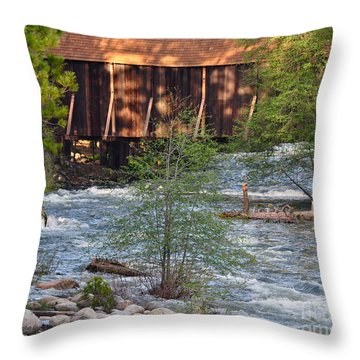Throw Pillow featuring the photograph Covered Bridge Over The River by Debby Pueschel