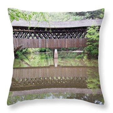 Throw Pillow featuring the photograph Covered Bridge by Pete Trenholm