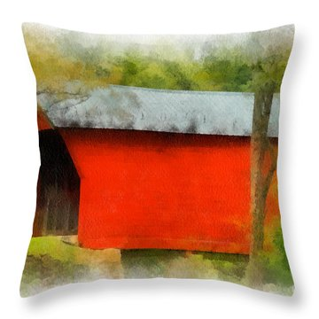 Covered Bridge - Sinking Creek Throw Pillow