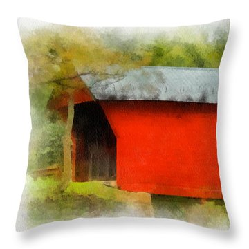 Covered Bridge - Sinking Creek Throw Pillow