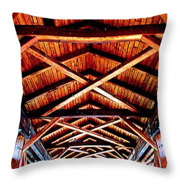 Covered Bridge Structure Throw Pillow