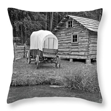 Covered Wagon Near Log Cabin Black And White Throw Pillow