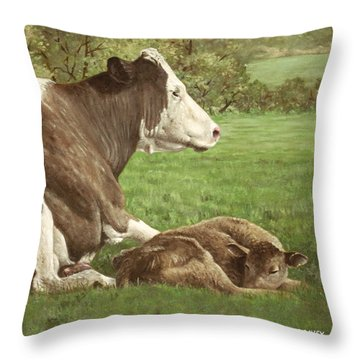 Cow And Calf In Field Throw Pillow