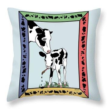 Cow Artist Cow Art Throw Pillow by Audra D Lemke