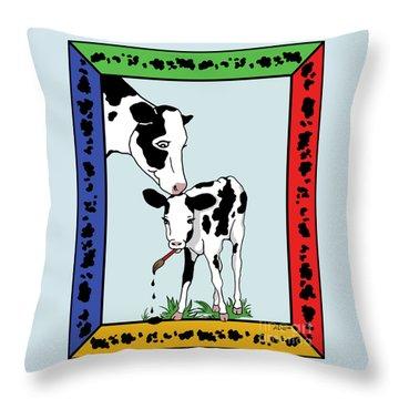 Cow Artist Cow Art II Throw Pillow by Audra D Lemke