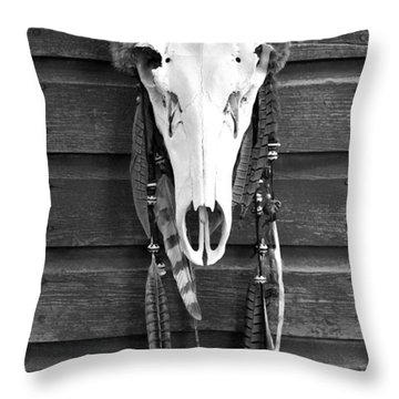 Cow Elk Skull And Feathers Throw Pillow by Karon Melillo DeVega