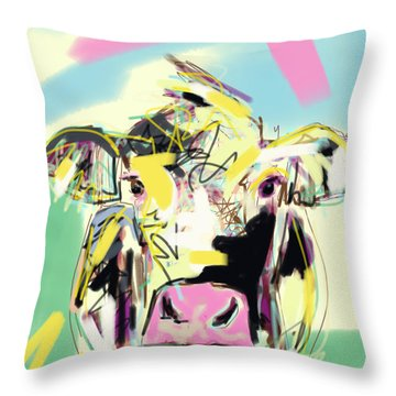 Throw Pillow featuring the painting Cow- Happy Cow by Go Van Kampen