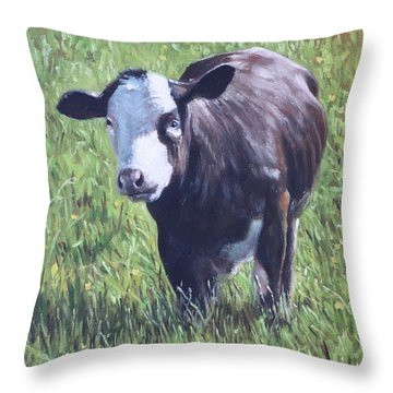 Cow In Grass Throw Pillow
