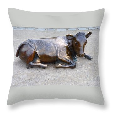 Cow In The City Throw Pillow