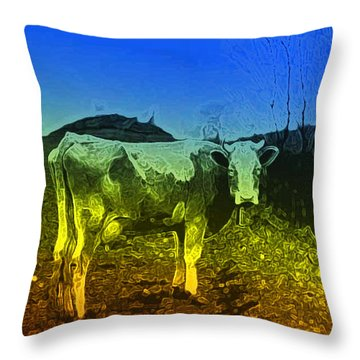 Throw Pillow featuring the digital art Cow On Lsd by Cathy Anderson