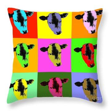 Cow Pop Art Throw Pillow