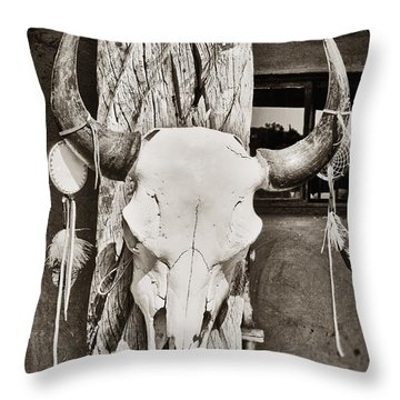 Throw Pillow featuring the photograph Cow Skull by Bryan Mullennix