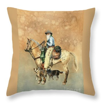 Cowboy And Appaloosa Throw Pillow by Nan Wright