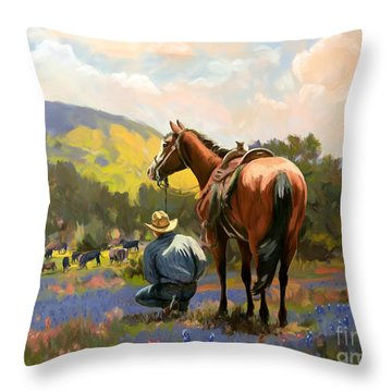 Cowboy And His Cows Throw Pillow