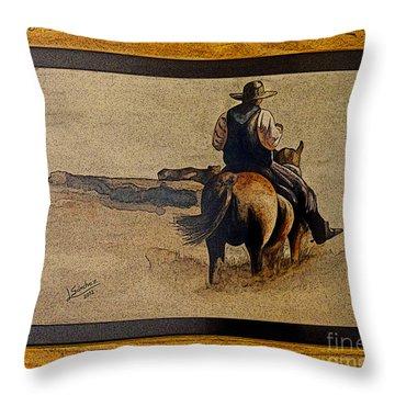 Cowboy Art By L. Sanchez Throw Pillow by Al Bourassa