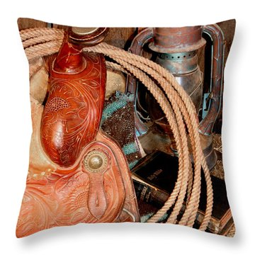 Cowboy Bible Throw Pillow by Pattie Calfy