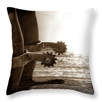 Cowboy Boots And Riding Spurs Throw Pillow by Olivier Le Queinec