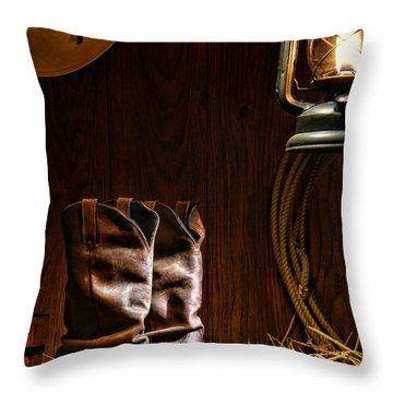 Throw Pillow featuring the photograph Cowboy Boots At The Ranch by Olivier Le Queinec