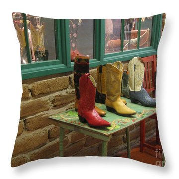 Throw Pillow featuring the photograph Cowboy Boots by Dora Sofia Caputo Photographic Art and Design