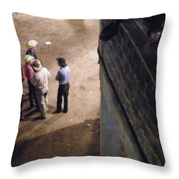 Throw Pillow featuring the photograph Cowboy Conference by Brian Boyle