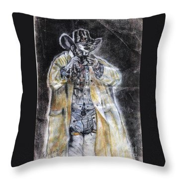 Cowboy Drinking Coffee Throw Pillow