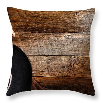 Cowboy Gear On Wood Throw Pillow by Olivier Le Queinec