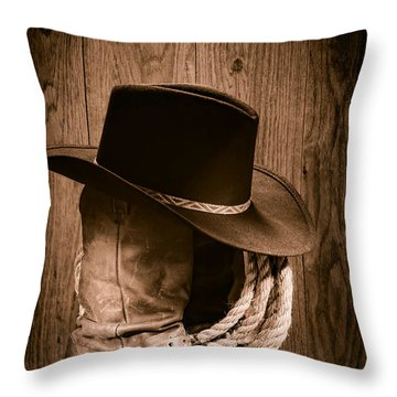 Throw Pillow featuring the photograph Cowboy Hat And Boots by Olivier Le Queinec